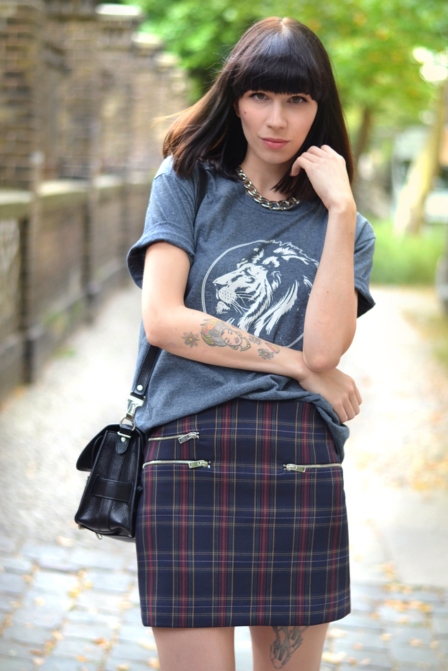 Check Print Royal Republic shirt Proenza Bag Outfit Blogger 6