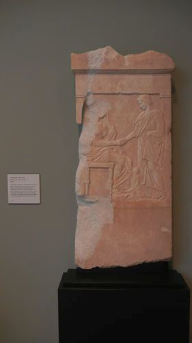 DSCN7475 _ Gravestone of Mynnia, Greek, c. 370 B.C., Getty Villa, July 2013