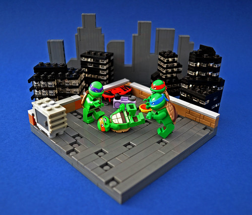 Turtles getting funky on Saturday night, NYC rooftop style yo!