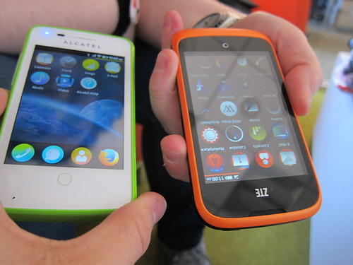 green and orange FirefoxOS phones