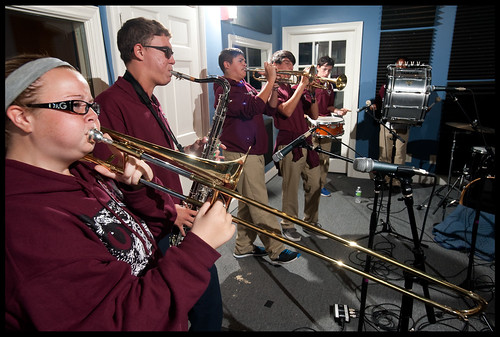 Chalmette High School Brass Band before Cutn Class at WWOZ. by Ryan Hodgson-Rigsbee (www.rhrphoto.com)