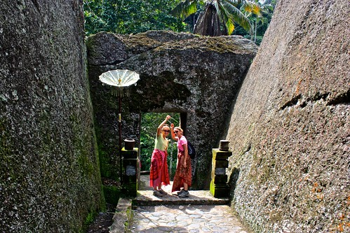 blessing eachother before entering an ancient temple complex