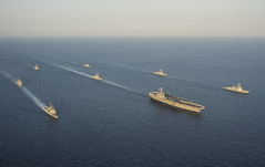 In this file photo, ships of the George Washington Carrier Strike Group and the Republic of Korea Navy exercise together in October. (U.S. Navy/MC3 Ricardo R. Guzman)