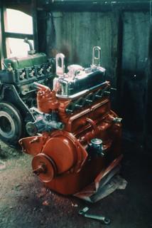 Austin A35 van engines, original 948cc left, replacement 803cc right, Swindon, March 1985 Scans636