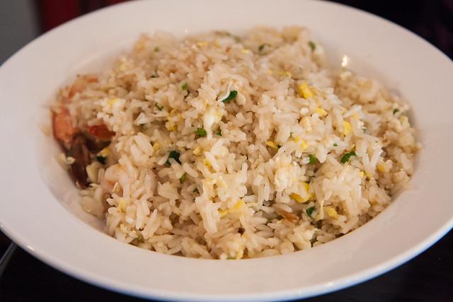 Kao pad with shrimp, Larb Ubol