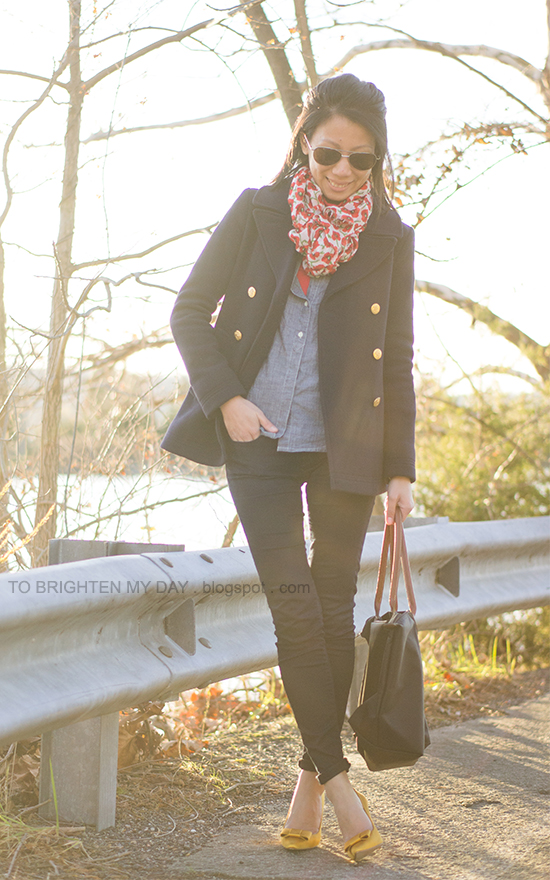 floral scarf, navy peacoat, chambray shirt, marigold bow pumps