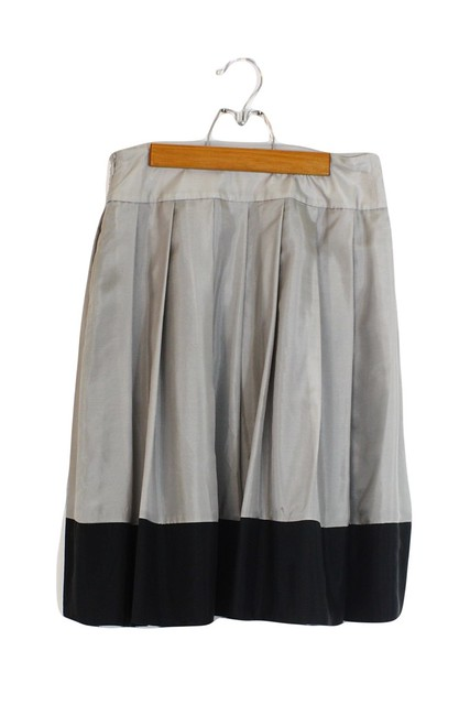 express silk color block skirt