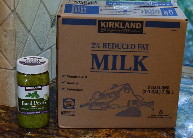 A box of Kirkland 2% Milk and Basil Pesto.