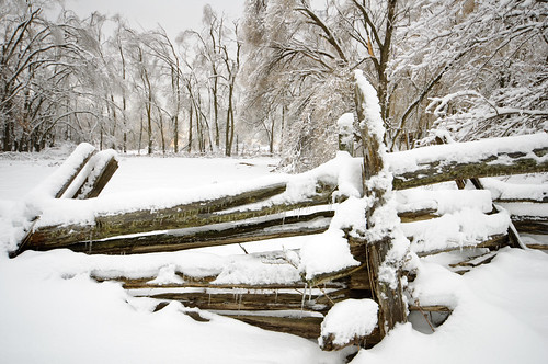 Rail fence and snow