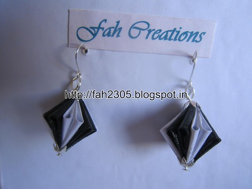 Handmade Jewelry - Origami Paper Diamond (Unit) Earrings (3) by fah2305