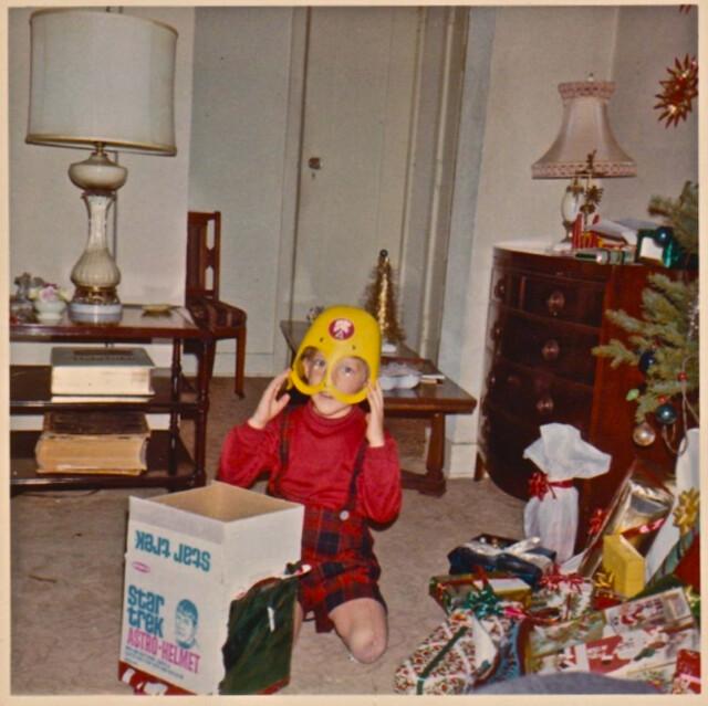 Vintage Photo 1960s Star Trek Astro Helmet On Christmas Morning