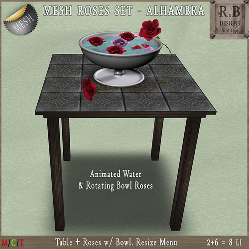 NEW ON SALE ! *RnB* Mesh Table w Roses - Alhambra Grey (R)