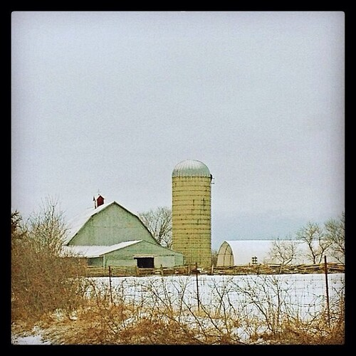 19/3/2014 - this time last year {a local farm taken this time last year. there is snow but not nearly the amount that thee is this year} #photoaday #march #2013 #barn #silo #farm #princeedwardcounty
