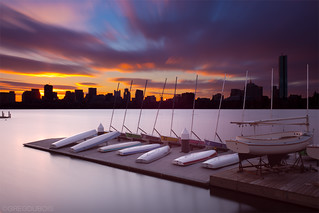 Extreme Exposure Transition from Dawn to Sunrise - Boston Skyline, Charles River, and Boat Docks