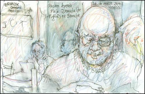 Stephen leyendo Plata Quemada (de Piglia) en Brooklyn.  26 de marzo, 2014. (Stephen reading Plata Quemada, by Piglia, in Brooklyn.)