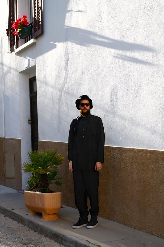 Tuukka13 - Hyeres Festival 2014 - WDYWT - Kris van Assche Sneakers, DAMIR DOMA Pants, Yohji Yamamoto Shirt-Jacket, Mikli Sunglasses and Muji Bucket Hat 1