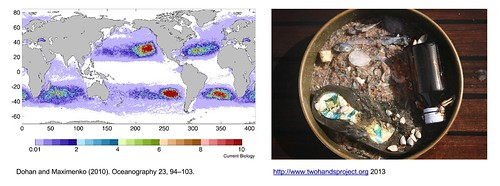 Plastic ocean map, macro, micro debris