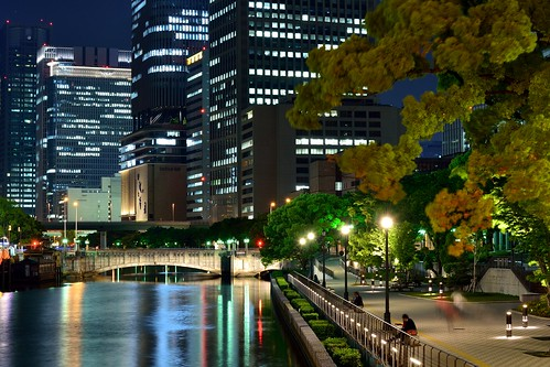 bridge building japan architecture night river landscape perspective osaka