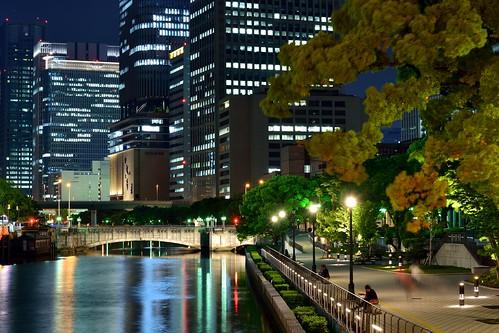bridge building japan architecture night river landscape perspective osaka