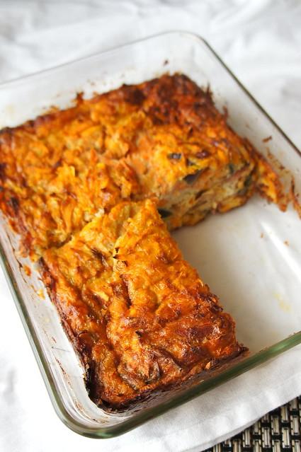 Sweet potato and bacon frittata in dish