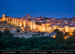 Spain - Avila - UNESCO World Heritage Site - City of Saints and Stones at Dusk - Blue Hour - Twilight - Night