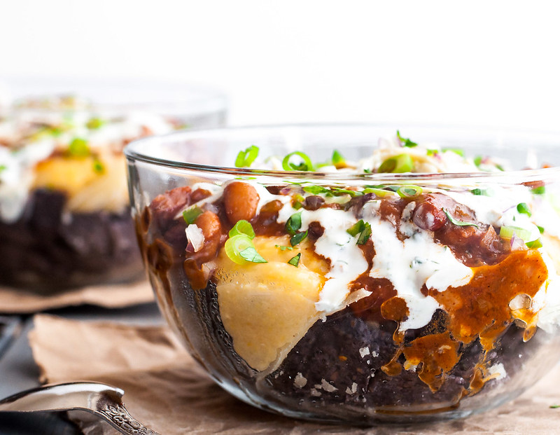 Meatless (and gluten-free) Mexican chili and cheddar grits super bowls