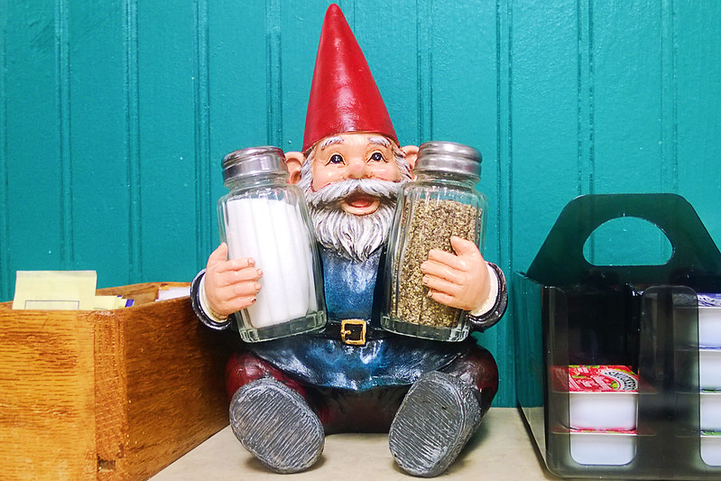 pondering the ethics of five finger discounting the gnome salt and pepper shaker holder.