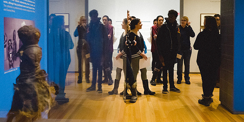 Art History 120 students and their TAs recently explored the Agnes as part of their class activities. (Photo: Tim Forbes)