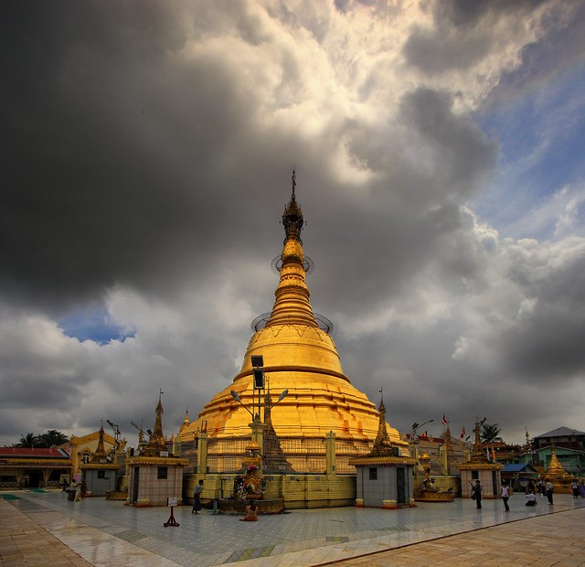 The golden Botatuang Pagoda spire rises above Yangon