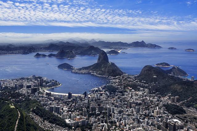 View Of Sugarloaf Mountain, Botafogo And The City of Rio De Janeiro, Brazil, South America