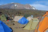 Trekking/Besteigung des Kilimanjaro über die Lemosho-Route. Camp Shira 2 mit Kibo (Gipfelaufbau Kilimanjaro). Foto: Günther Härter.