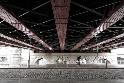 Under the River Clyde's railway bridge.