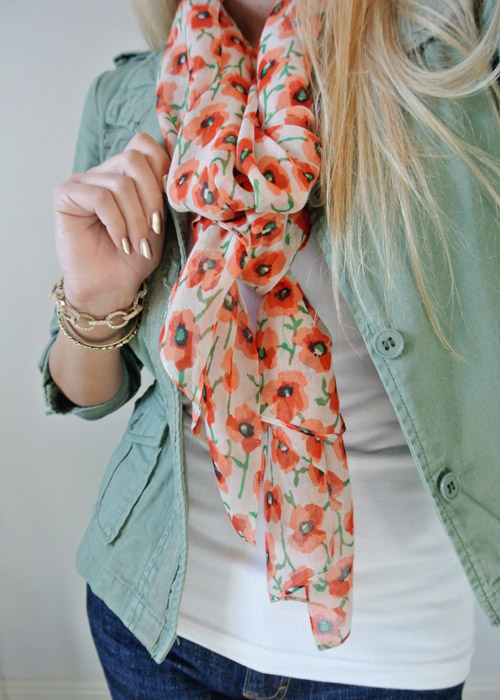 OOTD orange poppies and olive green