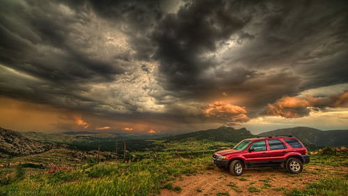 auto sunset sky storm cars ford nature car clouds skyscape landscape nikon colorado escape dusk 4wd stormy automotive 2006 transportation co vehicle suv cinematic 169 hdr cloudscape larimer estella storming stormmountain clff d700