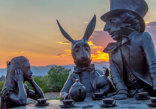 sunset sculpture mountains rabbit art statue colorado tea madhatter aliceinwonderland