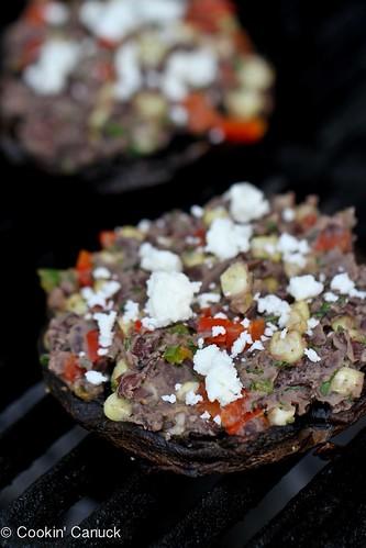 Southwestern Stuffed Portobello Mushroom Recipe with Cumin Black Beans {Vegetarian} | cookincanuck.com #vegetarian #recipe #cleaneating