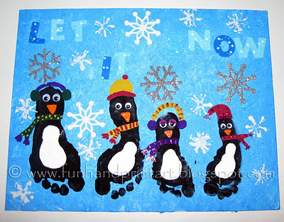 keepsake footprint penguin canvas
