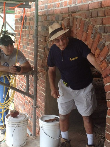 "Brings new meaning to the term ""arching your back"" with Ray Cannetti at the Jamestown Island church tower #AiPatFF"