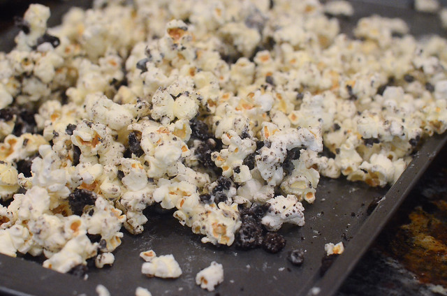 A tray of Cookies and Cream Popcorn.