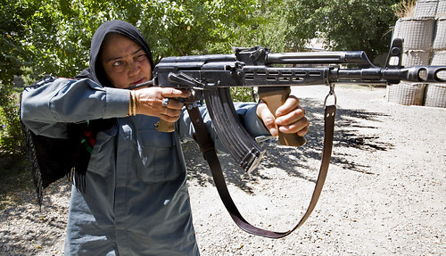 Nadia, 25, training at the Kabul Police Academy