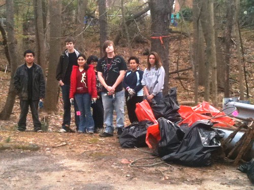 Image of Stream Stewards at a trash pick-up event.