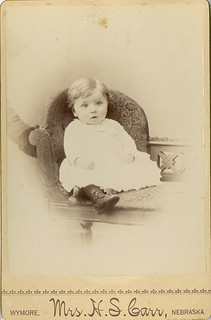 Alert Baby Boy with Hidden Mother's Arm - Cabinet Card by a Woman Photographer