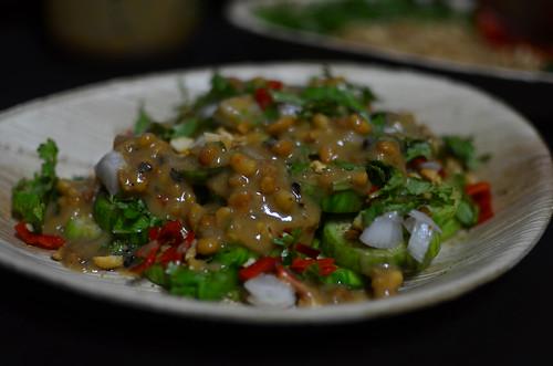 Peanut dressed garden egg salad