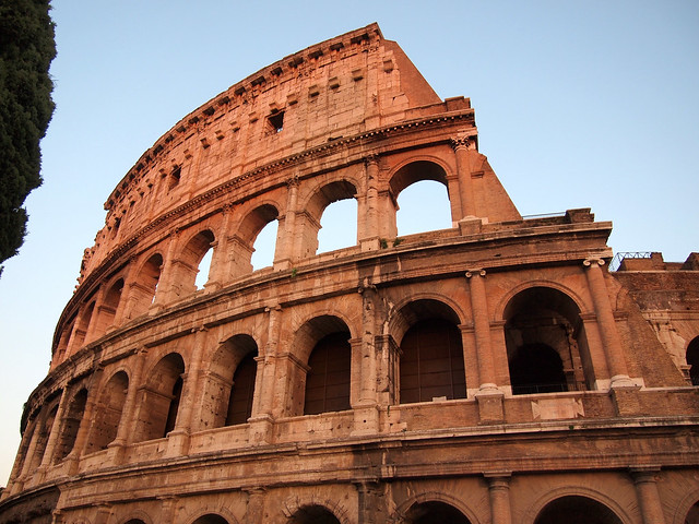 Roman Colosseum at sunset