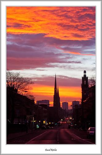 winter urban sunrise landscape dawn scotland glasgow