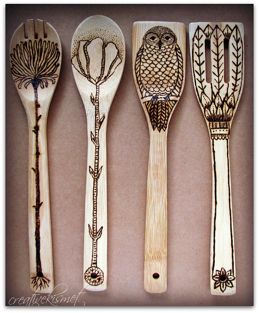 wood burned wooden kitchen utensils | Regina Lord of Creative Kismet