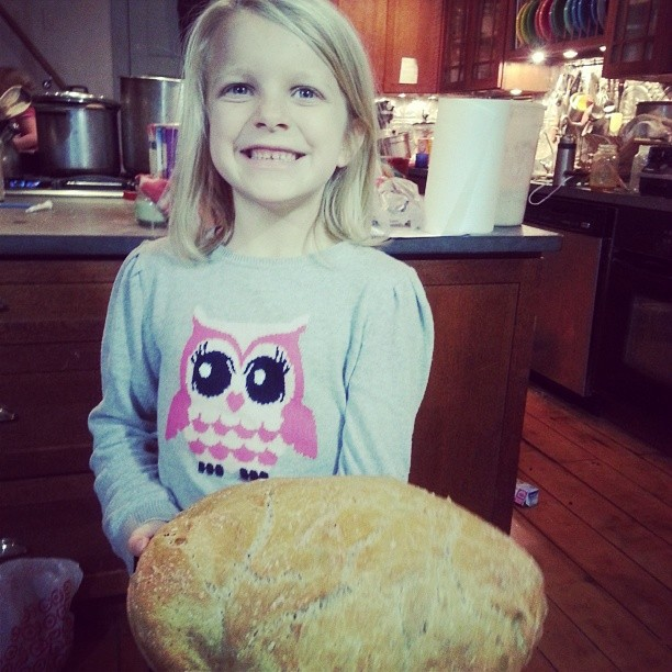 Ella watched a youtube video on #breadmaking and made this loaf of beauty for dinner.