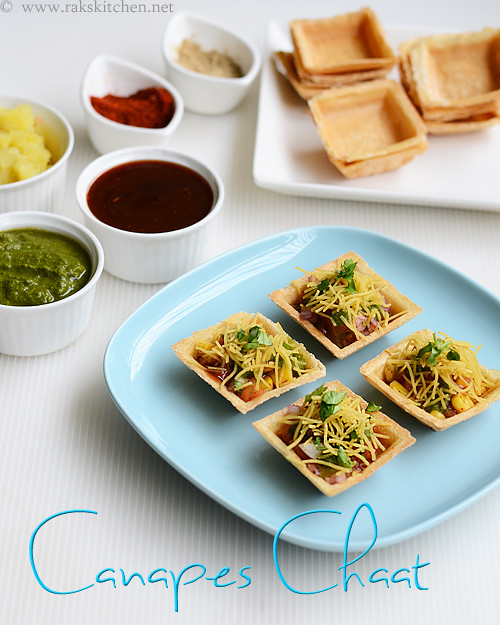 Canapes chaat canape chaat recipe raks kitchen for Types of canape