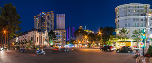 life street city lights asia view traffic panoramic vietnam bluehour saigon hcmc hochiminhstadt