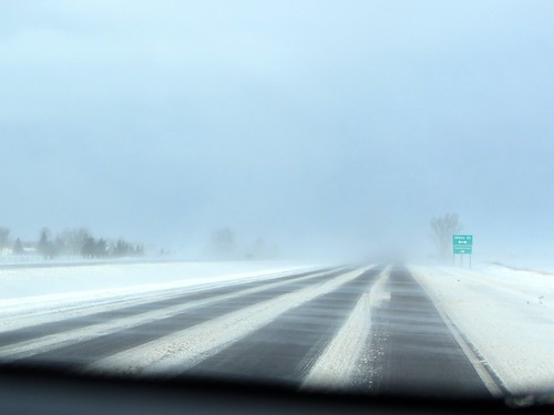 Highway 52 in Minnesota - near white-out conditions